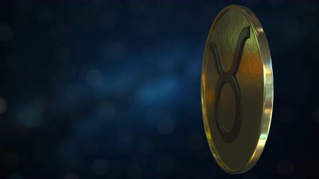 sterrenbeeld : Gold token with Taurus Zodiac sign. Loopable motion background