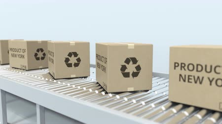 handling : Boxes with PRODUCT OF NEW YORK text on roller conveyor. Import or export related 3D animation Stock Footage