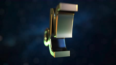 bak : Rotating gold Capricorn Zodiac sign, loopable 3D animation