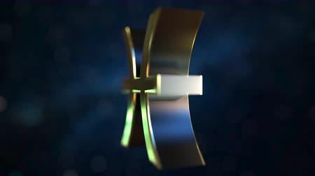 sterrenbeeld : Rotating gold Pisces Zodiac sign, loopable 3D animation