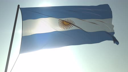 üç renkli : Waving flag of Argentina against shining sun and sky. Realistic loopable 3D animation Stok Video