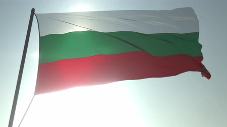 trikolóra : Waving flag of Bulgaria against shining sun and sky. Realistic loopable 3D animation