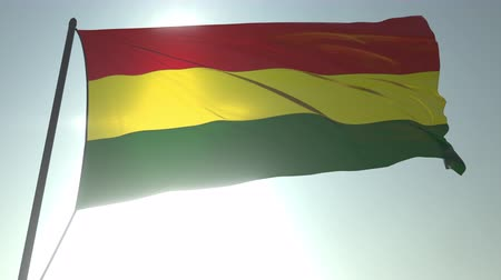 trikolóra : Waving flag of Bolivia against shining sun and sky. Realistic loopable 3D animation Dostupné videozáznamy