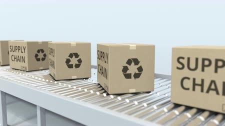 調達 : Boxes with SUPPLY CHAIN text on roller conveyor. Loopable 3D animation