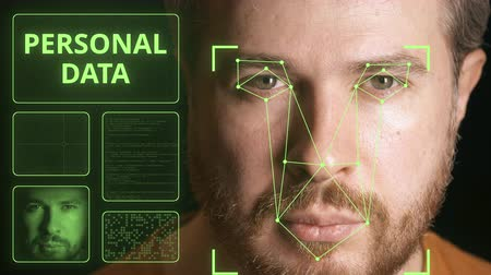 uznání : Computer security system scanning mans face. Personal data related clip