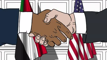 comics : Businessmen or politicians shake hands against flags of Sudan and USA. Official meeting or cooperation related cartoon animation Stock Footage