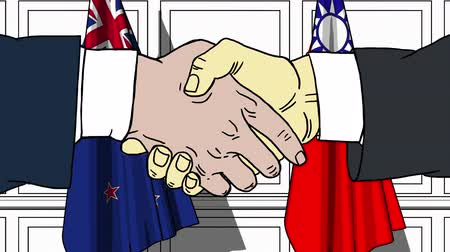 autoridade : Businessmen or politicians shake hands against flags of New Zealand and Taiwan. Official meeting or cooperation related cartoon animation
