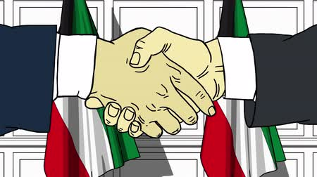 oy : Businessmen or politicians shaking hands against flags of Kuwait. Meeting or cooperation related cartoon animation