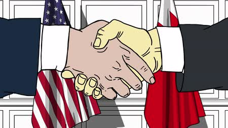 mani disegnate : Businessmen or politicians shake hands against flags of USA and Bahrain. Official meeting or cooperation related cartoon animation Filmati Stock