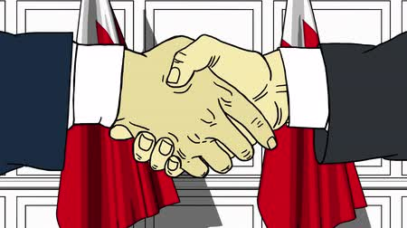 oposição : Businessmen or politicians shaking hands against flags of Bahrain. Meeting or cooperation related cartoon animation