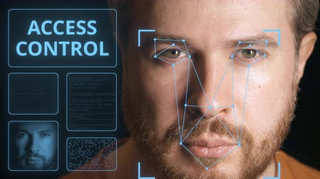 face id : Security system scanning mans face. Electronic access control related clip Stock Footage