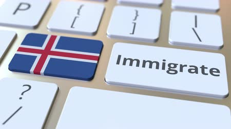 иммиграция : IMMIGRATE text and flag of Iceland on the buttons on the computer keyboard. Conceptual 3D animation Стоковые видеозаписи