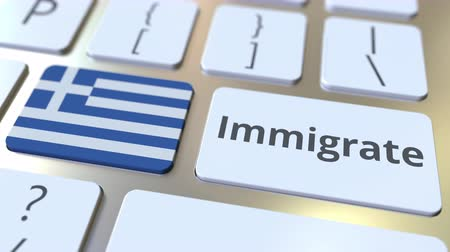 deslocalização : IMMIGRATE text and flag of Greece on the buttons on the computer keyboard. Conceptual 3D animation