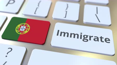 emigrazione : IMMIGRATE text and flag of Portugal on the buttons on the computer keyboard. Conceptual 3D animation