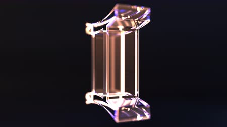 астрологический : Rotating glass Gemini Zodiac sign, loopable 3D animation Стоковые видеозаписи