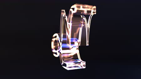 反射する : Rotating glass Capricorn Zodiac sign, loopable 3D animation