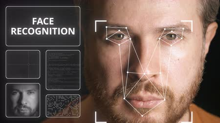 face id : Computer system scanning mans face. Face recognition related clip