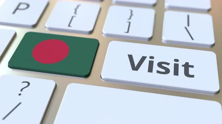 海外で : VISIT text and flag of Bangladesh on the buttons on the computer keyboard. Conceptual 3D animation