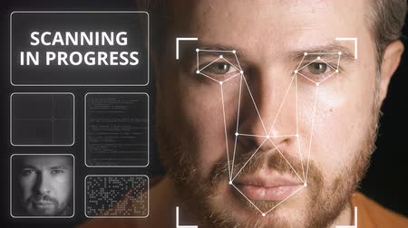 uznání : Electronic security system scanning mans face