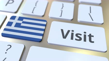 greece flag : VISIT text and flag of Greece on the buttons on the computer keyboard. Conceptual 3D animation