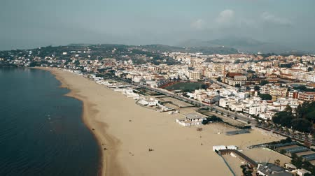 voar : Aerial view of city of Gaeta and the sea coastline, Italy Stock Footage