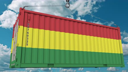 handling : Container with flag of Bolivia. Bolivian import or export related conceptual 3D animation Stock Footage