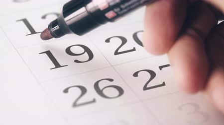 напоминать : Drawing red circled mark on the nineteenth 19 day of a month in the calendar Стоковые видеозаписи
