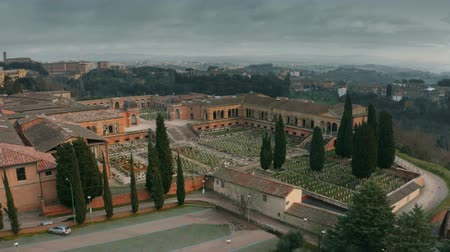 headstone : Aerial view of old graveyard in Siena, Italy Stock Footage