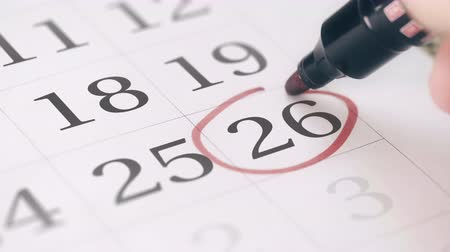 terms : Mark on the twenty-sixth 26 day of a month in the calendar, close-up Stock Footage