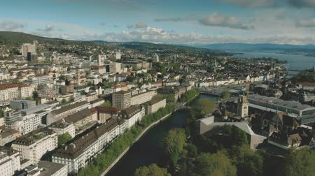 lac de come : Aerial view of the Schweizerisches National museum or Swiss National Museum and the Main Railway Station in Zurich, Switzerland