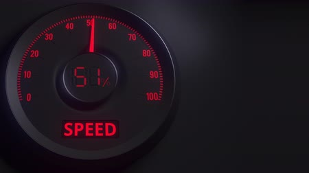 expanding : Red and black speed meter or indicator, 3D animation