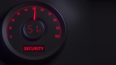 cem : Red and black security meter or indicator, 3D animation