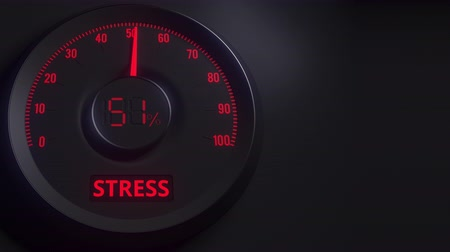 expanding : Red and black stress meter or indicator, 3D animation
