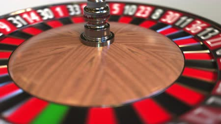 szektor : Casino roulette wheel ball hits 7 seven red. 3D animation