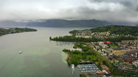Швейцария : Aerial view of the Lake Lucerne and the Alps, Switzerland Стоковые видеозаписи