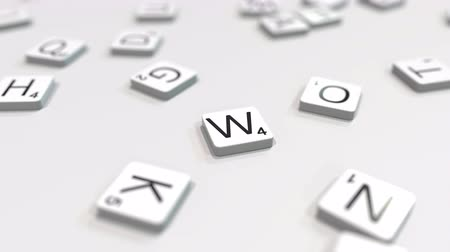 сочетание : WINTER word being composed with scrabble letters. Editorial 3D animation