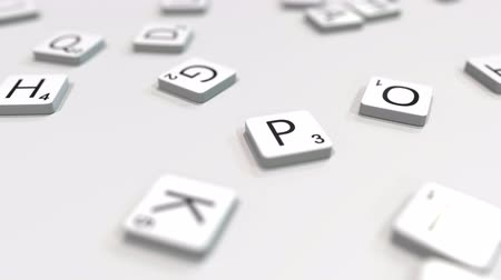kombináció : PLAN word being made with scrabble letters. Editorial 3D animation