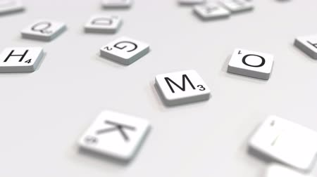 kombináció : MIND word being composed with scrabble letters. Editorial 3D animation Stock mozgókép