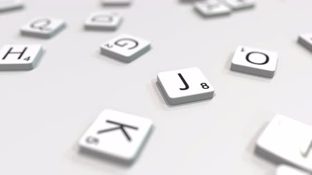 прокат : JOB word being composed with scrabble letters. Editorial 3D animation Стоковые видеозаписи