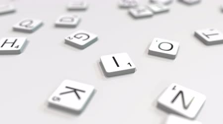 キャプション : INVENT word being composed with scrabble letters. Editorial 3D animation