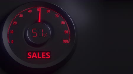 cem : Red and black sales meter or indicator, 3D animation