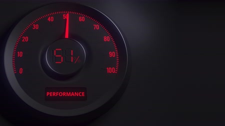 genişleme : Red and black performance meter or indicator, 3D animation