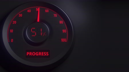 cem : Red and black progress meter or indicator, 3D animation Vídeos