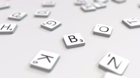 組み合わせ : BOSTON city name being made with scrabble letters. Editorial 3D animation