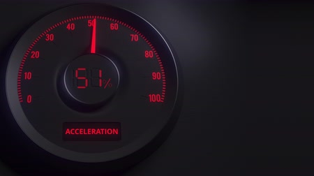 indicating : Red and black acceleration meter or indicator, 3D animation Stock Footage