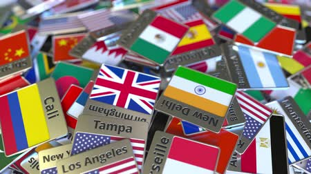 magnets : Souvenir magnet or badge with Monterrey text and national flag among different ones. Traveling to Mexico conceptual intro animation