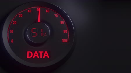 cem : Red and black data meter or indicator, 3D animation