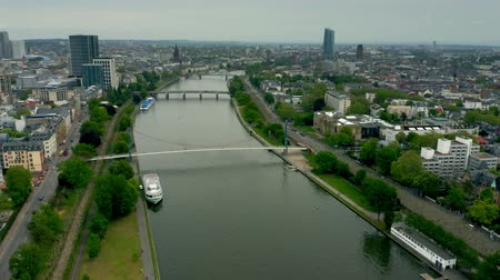 city limits : Aerial view of the River Main within Frankfurt am Main limits, Germany Stock Footage