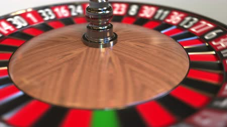 olasılık : Casino roulette wheel ball hits 18 eighteen red. 3D animation