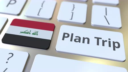plánovač : PLAN TRIP text and flag of Iraq on the computer keyboard, travel related 3D animation